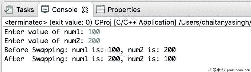 C 程序 使用指针交换两个数字