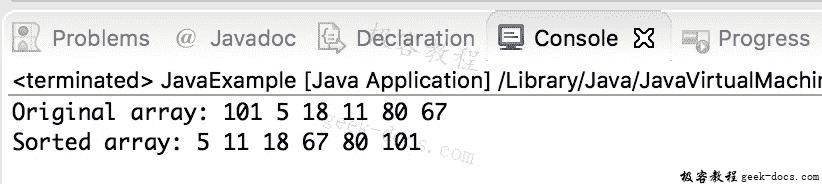 Java 实例 选择排序