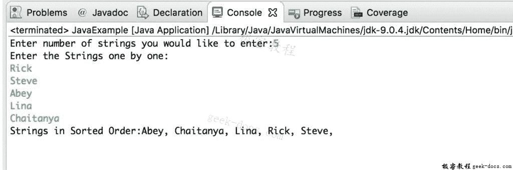 Java 实例 按字母顺序排序字符串