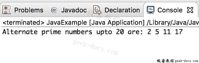 Java 实例:打印备用素数
