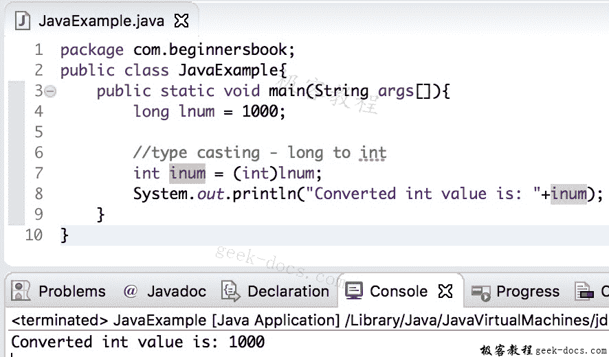 Java 实例 long到int的转换