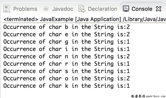 Java 实例 查找字符串中字符的出现