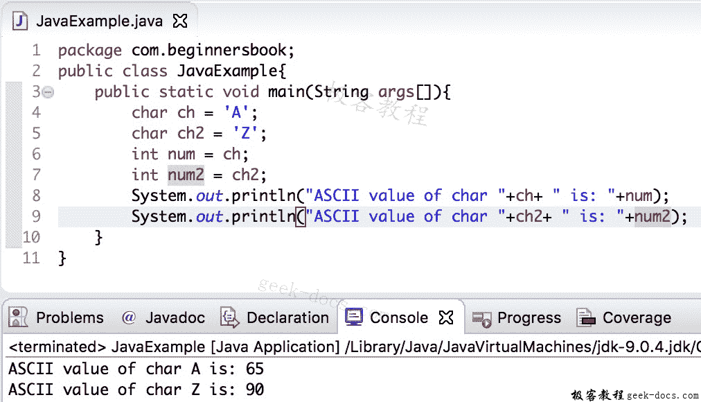 Java 实例 char到int的转换