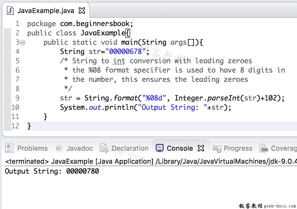 Java 实例 String到int的转换