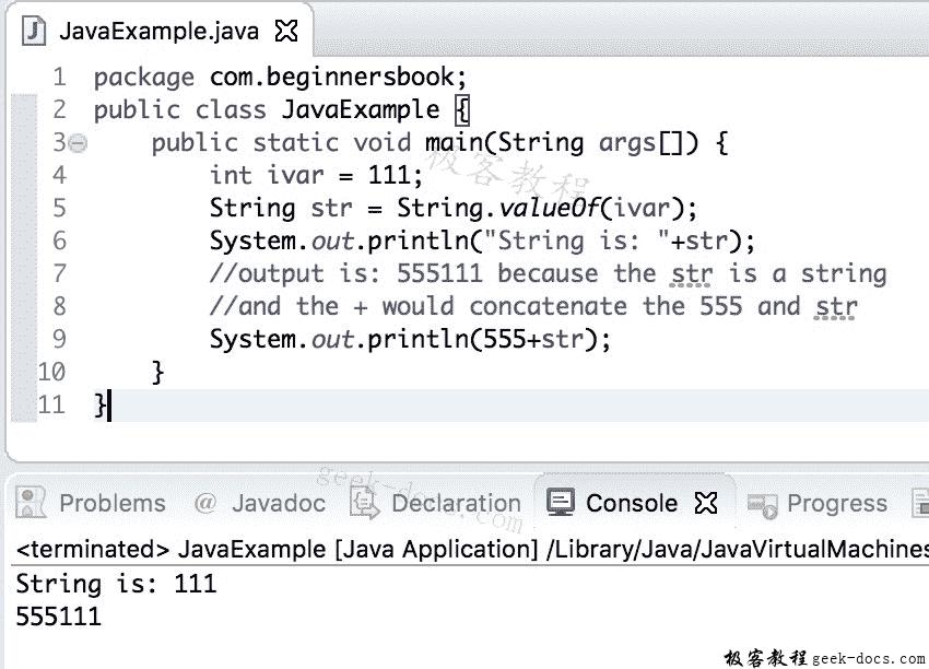 Java 实例 int到String的转换