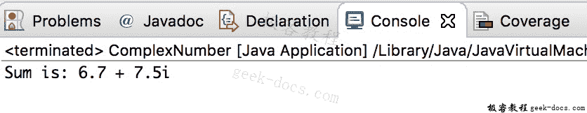 Java 实例 相加两个复数