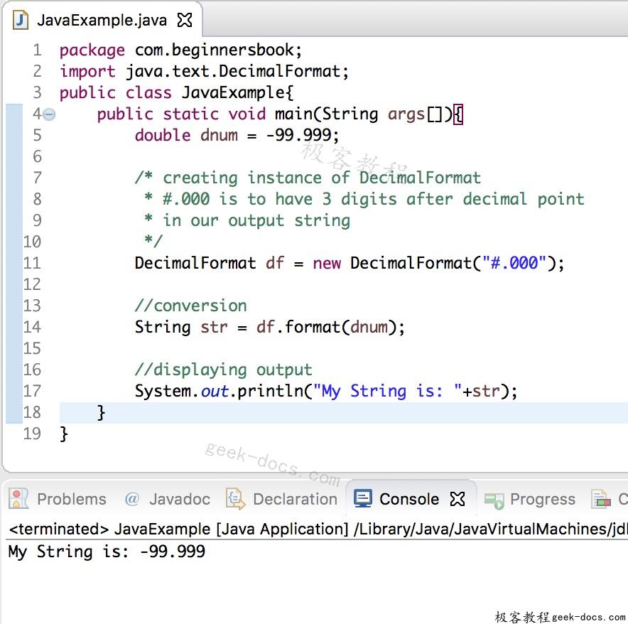 Java 实例 double到字符串的转换