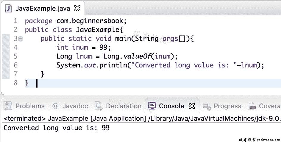 Java 实例 int到long的转换