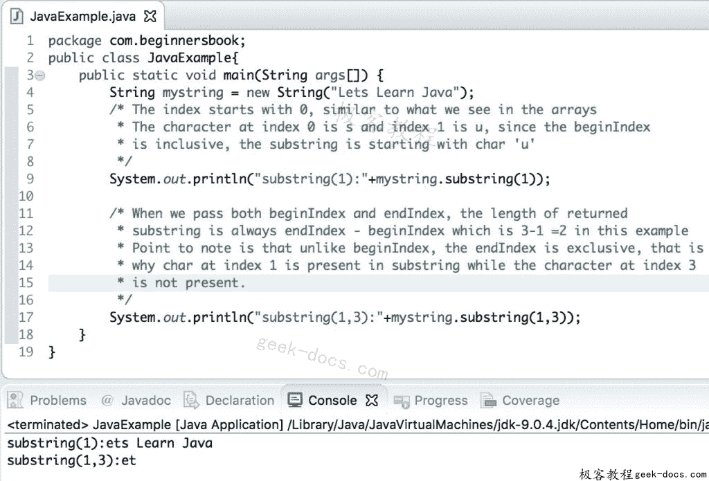 Java String substring方法