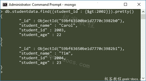 MongoDB limit()和skip()方法