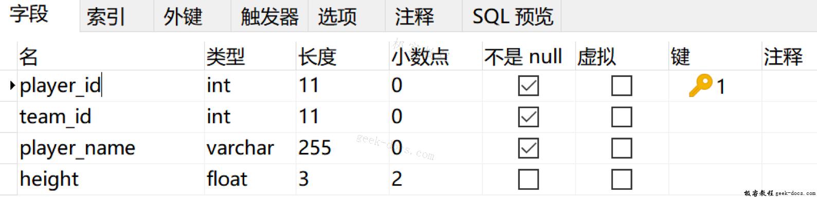 SQL 创建表